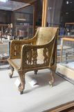 Goldy royal chair - Egyptian museum. Cairo, Egypt Jan. 2018 Ancient gold and silver antiquities - Egyptian museum Royalty Free Stock Images
