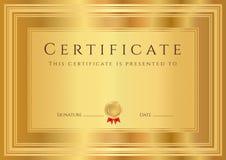 Goldzertifikat-/-diplomhintergrund (Schablone) Stockfoto