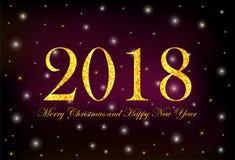 Goldziffern 2018 und Text frohe Weihnachten und guten Rutsch ins Neue Jahr O lizenzfreie abbildung
