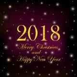 Goldziffern 2018 und Text frohe Weihnachten und guten Rutsch ins Neue Jahr O stock abbildung