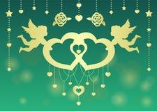 Goldzwillings-Amorgriffzwillingsherzvektor-Kunstdesign für Hochzeitskarte oder -Valentinsgruß ` s Tag Lizenzfreie Stockfotos