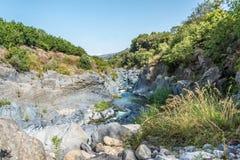 Gole dell'Alcantara在西西里岛,意大利 库存照片