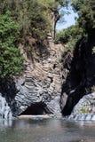 Gole dell'Alcantara -在河阿尔坎塔拉的一个峡谷 西西里岛 库存照片