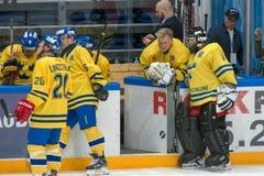 Goleiros Rolf Wanhainen (1) e goleiros Ake Lilljebjorn (30) Foto de Stock Royalty Free