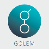 Golem GNT decentalized worldwide supercomputer and criptocurrency vector logo.  Stock Images