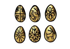 Golen Easter Egg set. Vector isolated handwritten illustration. Graphic black brush lines. Hand drawn painting. Holiday collection Royalty Free Stock Photos