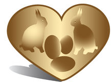 Golen heart, bunny, eggs Royalty Free Stock Image