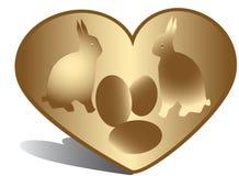 Golen Heart, Bunny, Eggs Royalty Free Stock Image