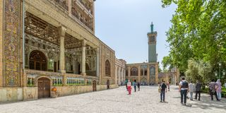 Golestan Palace buildings. TEHRAN, IRAN - MAY 1, 2015: Tourist sightseeing Edifice of the Sun and the royal palace Golestan oldest groups of buildings in persian Stock Photos