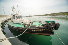 Goletta di pesca sul nuovo pilastro Sarafovo in Bourgas, Bulgaria Fotografia Stock Libera da Diritti
