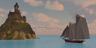 Goletta e castello del lago Fotografie Stock