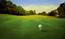 Golf. Ball on tee in a beautiful natural landscape