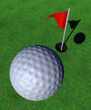 Golf. Ball with grass, red flag and hole stock illustration