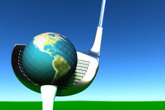 Golf. Game of golf by planet earth on grass Stock Photography