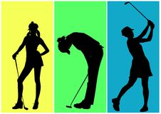 Golf. Girls playing in golf on colored background Stock Image