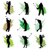 Golf. Set of golf player silhouette vector Royalty Free Stock Images