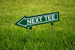 Golf. Next tee sign on the golf course Stock Images