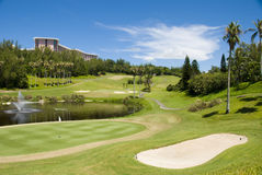 Golf. Lush golf course at tropical resort Royalty Free Stock Photography