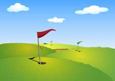 Golf. Illustration of a green golf course with flags Royalty Free Illustration