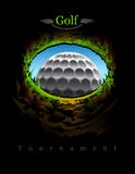 Golf. Ball going to the 18th hole. View from inside. In the jpg and eps version you can easily remove the text elements and put your own Stock Images