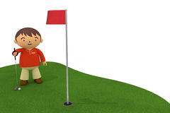 Golf. Men enjoy a golf holiday. Cup in a few meters. Father enjoy the sport. Flag fluttering on the lawn Stock Images