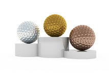Golf. 3d illustration of victory podium with first, second and third places ball Stock Photos