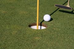 Golf. The last shot in the golf green Stock Photos