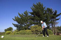 Golf #46. Man playing golf on the tee box Royalty Free Stock Photos