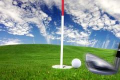 Golf. Detail stroke bat to the ball near potholes Royalty Free Stock Photos