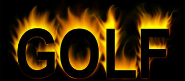 Golf. Word in fire background Royalty Free Stock Image