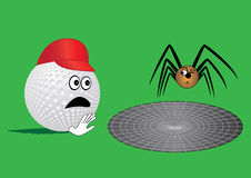 Golf. Ball end spider (humor Royalty Free Stock Images