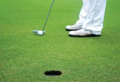 Golf. ,green grass and hole Royalty Free Stock Images