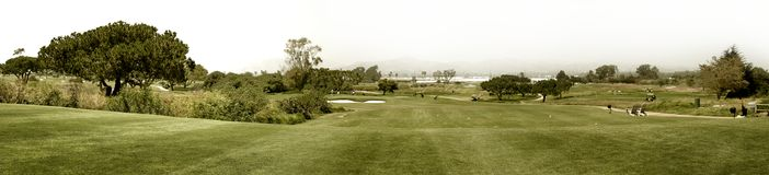 Golf. Panoramic shot of a golf fairway near Ventura Stock Image