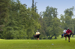 Golf. Three men golfing Royalty Free Stock Photography