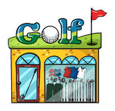 Golf accessories store Stock Images