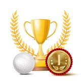 Golf Achievement Award Vector. Sport Banner Background. White Ball, Winner Cup, Golden 1st Place Medal. Realistic. Isolated royalty free illustration