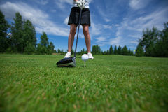 Golf active leisure. Golf club tee golfplayer close-up ball stock photo