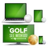 Golf Application Vector. Field, Golf Ball. Online Stream, Bookmaker, Sport Game App. Banner Design Element. Live Match. Monitor, Laptop, Touch Tablet Smart Stock Photography