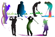 Golf art action classic. Graphics on the sports, entertainment, classic colors, bright colors, brush stroke speed line art movement popular sports clubs. Driving Royalty Free Stock Photos