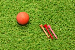 Golf on artificial grass Stock Images