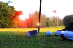 Golf athlete bow, catch the golf ball stock images