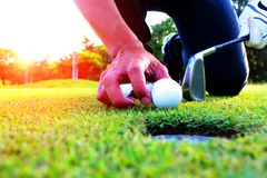 Golf athletes sit down to catch Golf ball in the green lawn royalty free stock images