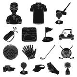 Golf and attributes black icons in set collection for design.Golf Club and equipment vector symbol stock web Royalty Free Stock Images