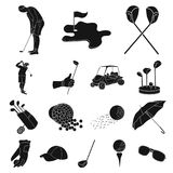Golf and attributes black icons in set collection for design.Golf Club and equipment vector symbol stock web. Golf and attributes black icons in set collection Stock Image
