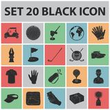 Golf and attributes black icons in set collection for design.Golf Club and equipment vector symbol stock web Stock Photos