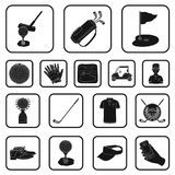 Golf and attributes black icons in set collection for design.Golf Club and equipment vector symbol stock web. Golf and attributes black icons in set collection Stock Photo
