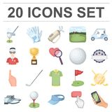 Golf and attributes cartoon icons in set collection for design.Golf Club and equipment vector symbol stock web Royalty Free Stock Image