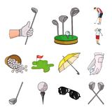 Golf and attributes cartoon icons in set collection for design.Golf Club and equipment vector symbol stock web. Golf and attributes cartoon icons in set Stock Images