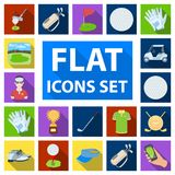 Golf and attributes flat icons in set collection for design.Golf Club and equipment vector symbol stock web illustration Stock Photos