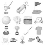 Golf and attributes monochrome icons in set collection for design.Golf Club and equipment vector symbol stock web Royalty Free Stock Photography
